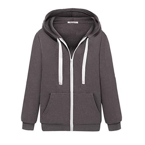 - Zeagoo Women's Long Sleeve Hoodie Zip-Up Pocket Tunic Hoodie Hooded Sweatshirt Thick Heavyweight Casual Pullover Hoodie Jackets Grey Small