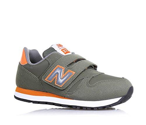 NEW BALANCE - Chaussure de sport verte et orange, en tissu et microfibre, avec velcro, logo latéral et à l'arrière, coutures visibles et semelle en caoutchouc, garçon, garçons