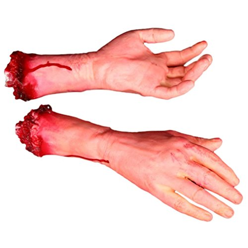 Sunward 1 Pair Terror Severed Bloody Fake Arms Hands for Halloween Party and (Thermal Emulsion)