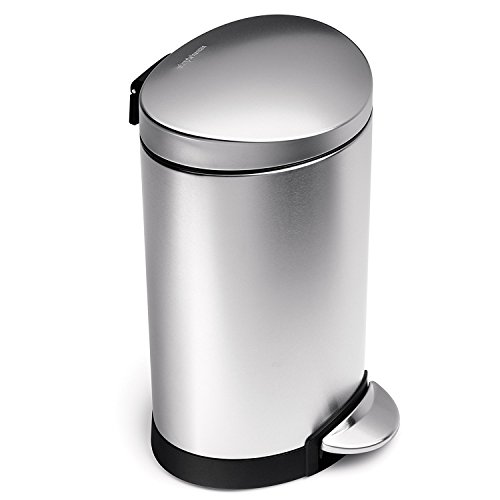 simplehuman 6 Liter / 1.6 Gallon Stainless Steel Compact Semi-Round Bathroom Step Trash Can, Brushed Stainless - Trash Cans Step
