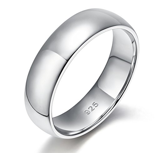 EAMTI 6mm Mens Sterling Silver Rings Wedding Band High Polish Plain Dome Comfort Fit Size - Ring Rhodium Band Wide