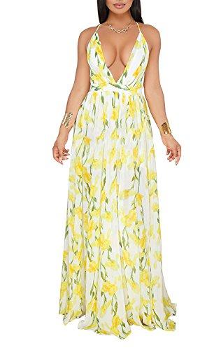 Remelon Womens Sexy Spaghetti Strap Deep V Neck Floral Boho Criss Cross Backless Chiffon Beach Party Long Maxi Dress Yellow White -