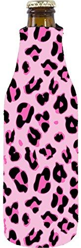 Coolie Junction Leopard Print Beer Bottle Coolie (Pink)