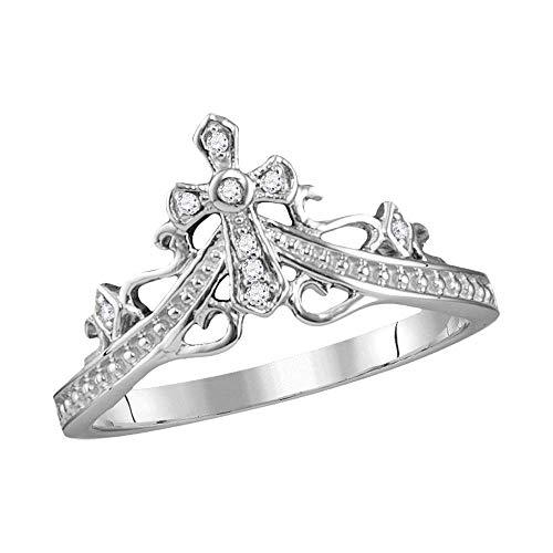 14k White Gold Diamond Cross Crown Tiara Band Ring 1/20 ct