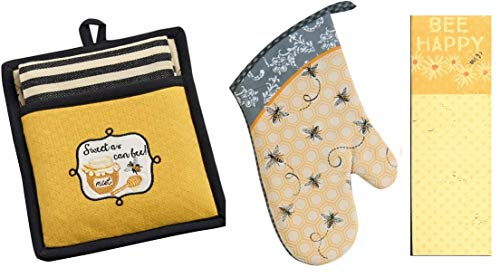 Striped Pot Holder - 4 Piece Bees Kitchen Decor Bundle - DII Quilted Sweet as Can Bee! Embroidered Pot Holder with Striped Towel Gift Set, Kay DeeDesign Bumble Bee Oven Mitt and Bee Happy Magnetic Notepad/Shopping List