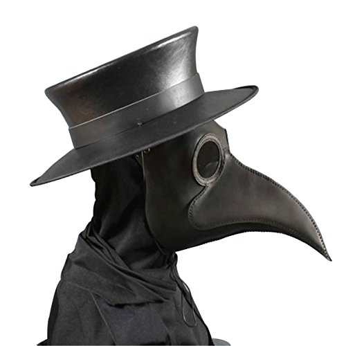 Anjoy Plague Doctor Mask Birds Long Nose Beak Faux Leather Steampunk Halloween Costume (Black)]()