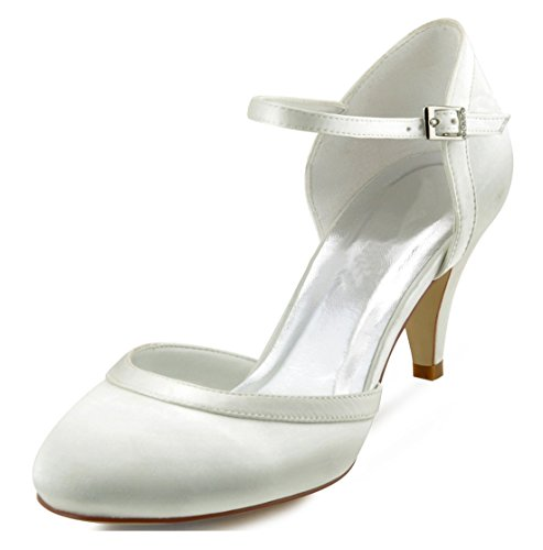 Minitoo Ladies Almond Toe Ankle Strap Satin Bridal Wedding Party Shoes Ivory-5cm Heel 95gZnN