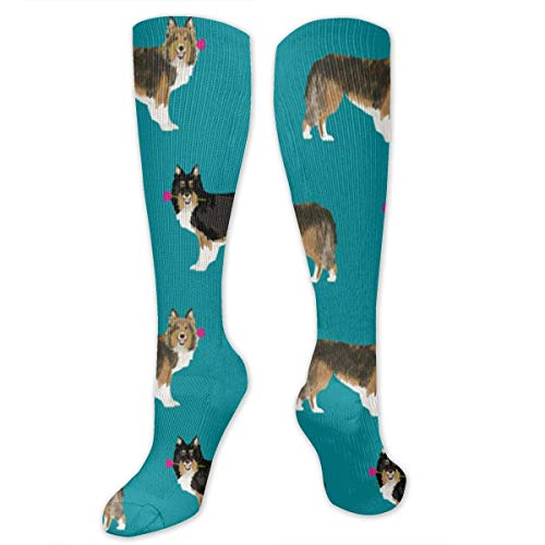 Tile Sheltie Shetland Sheepdog Unisex Novelty Colorful Athletic Basketball Sports Crew Tube Socks