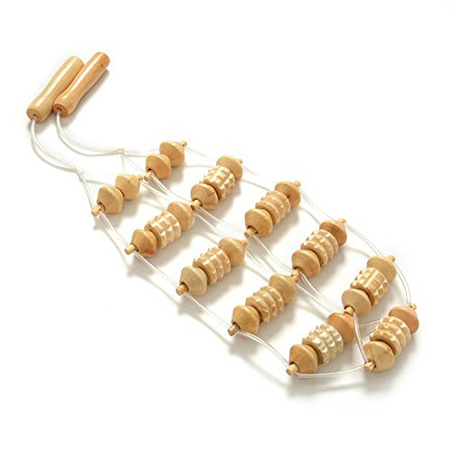 KeyZone Creative Wooden Body Massager Roller Neck Pull Back Massage for Stress Relief