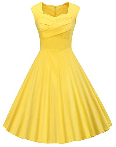 [VOGVOG Women's 1950s Retro Vintage Cap Sleeve Party Swing Dress, Yellow, Large] (1950 Dress)