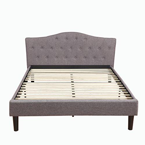 Classic Linen Fabric Platform Bed w/ Wooden Slats