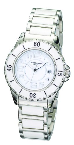 Charles-Hubert, Paris Men's 3755-W Premium Collection White Ceramic and Stainless Steel Watch