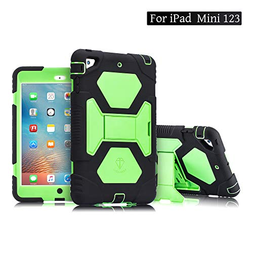 ACEGUARDER Kids Case for iPad Mini 1 2 3 Full Body Protective Silicone Cover with Screen Protector Adjustable Kickstand for Apple iPad Mini 1/2/3 Case(Black/Green) - Silicone Case Screen Protector