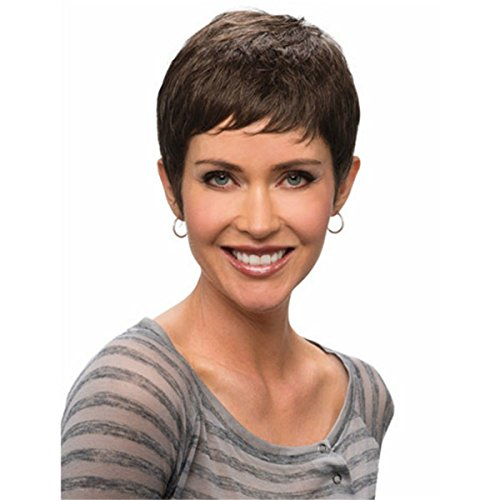 YX African American Synthetic wigs for women Cute pixie Cut Short Brown Afro Wig with Bangs
