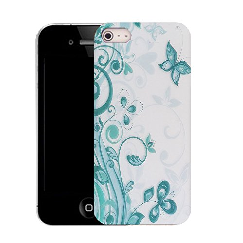 Mobile Case Mate IPhone 4s clip on Silicone Coque couverture case cover Pare-chocs + STYLET - aqua vine butterfly pattern (SILICON)