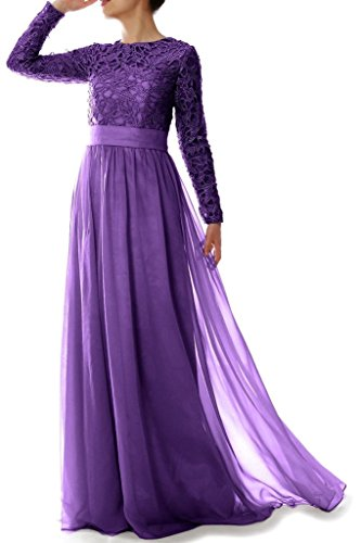 Braut Linie Lila langen Chiffon Spitze mit eine HWAN Kleid der rmeln Mutter Frauen Abendkleider EOnqxvnFZ