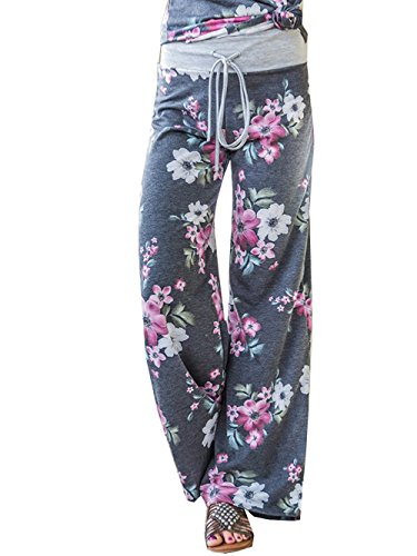 iChunhua Women's Comfy Stretch Floral Print Drawstring Long Wide Leg Lounge Pants L Grey #6