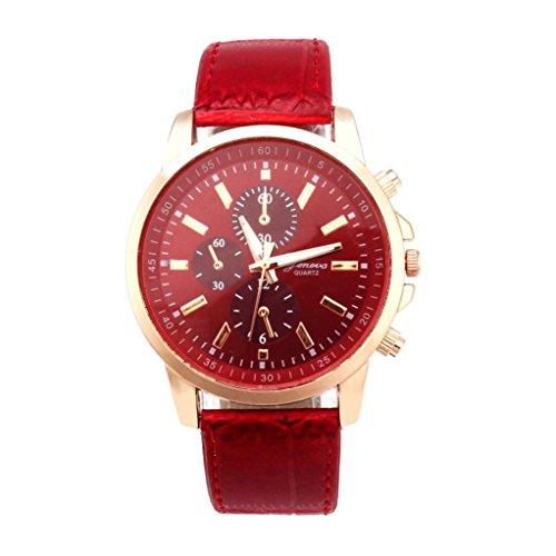 IEason,Geneva Leather Analog Dial Quartz Sport Wrist Watch (Red)