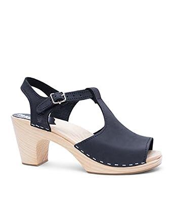 Sandgrens Swedish High Rise Heel Wood Clog Sandals for Women   Nice