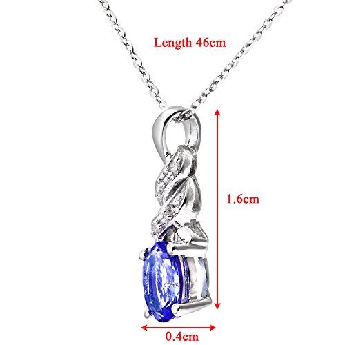 Revoni Bague en or blanc 9carats-Tanzanite et Diamant Collier Pendentif avec chaîne 46cm