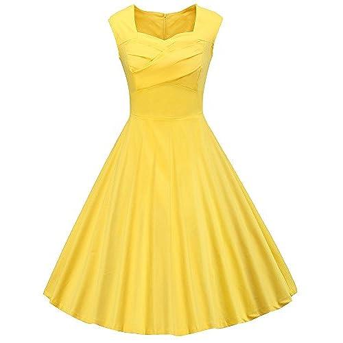 Vintage 1950 Yellow Dresses: Amazon.com
