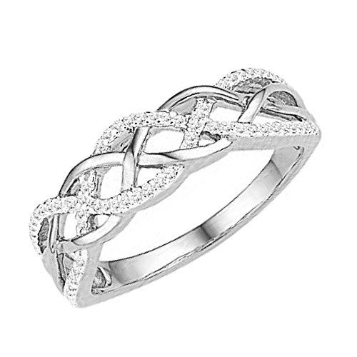 (Dazzlingrock Collection 0.20 Carat (ctw) 10K Round Diamond Ladies Swirl Right Hand Ring 1/5 CT, White Gold, Size 8)