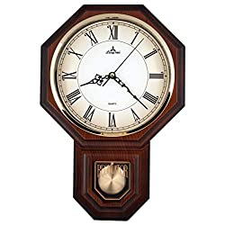 JUSTIME Traditional Schoolhouse Pendulum Wall Clock Chimes Hourly with Westminster Melody Made in Taiwan, 4AA Batteries Included (PP0258-R Dark Wood Grain)