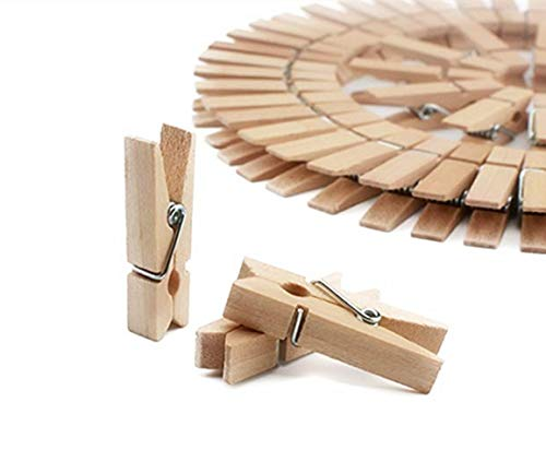DurReus 50pcs Small Wood Clothes Pins Pegs Strong Hangers Picture Display Art Craft Clip Clamps Party Wedding Office Decor String Wire Clothesline]()