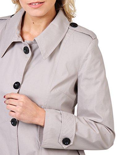 KRISP Femme Manteau Classique Chic Elgant Trench Coton Beige (3091)