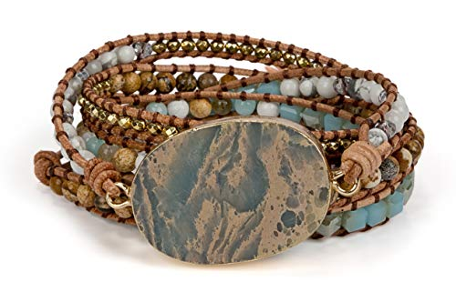 SPUNKYsoul 5 Wrap Bead Bracelet for Women with Agalmatolite, Jasper, Blue Agate, Labradorite and Hematite for ()