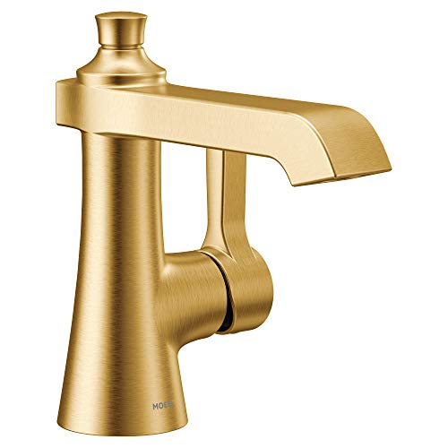Moen S6981BG Flara One-Handle Single Hole Bathroom Faucet with Drain Assembly, Brushed Gold