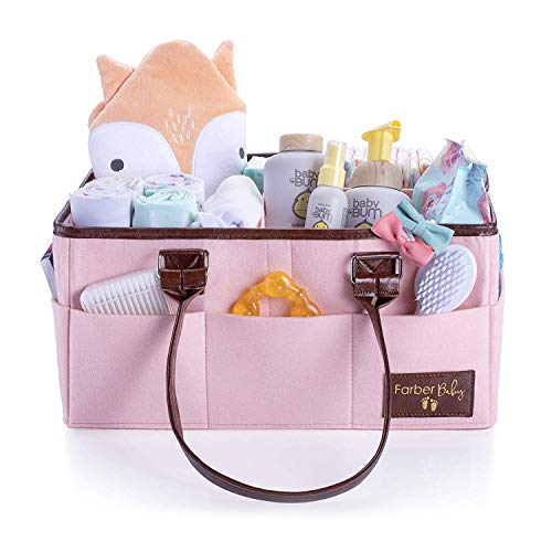 Baby Diaper Caddy Nursery Organizer - Baby Shower Gift Basket for Boys Girls | Large Portable Storage Bin for Toys Wipes | Newborn Registry Must Haves (Pink)