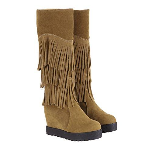 Tassels Boots High Hidden Platform Apricot Mid Shine Heel Show Calf Womens zq88Z