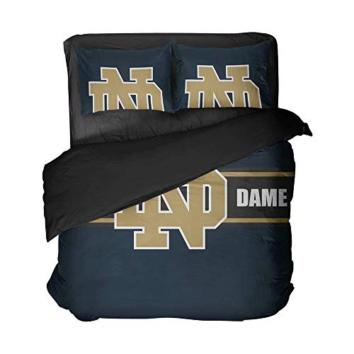 lordream Notre Dame Football Bed Flat Sheet Sets Clear Pattern University Sports Bedding Sets Dark Blue Quilt Coverlet Full 3 Pieces(Twin 3pcs)