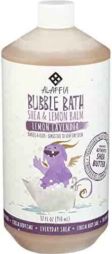 Alaffia Everyday Shea Bubble Bath for Babies & Kids, Gentle for Sensitive to Very Dry Skin Types, Ethically Traded, Non-GMO, Lemon Lavender, 32 Ounces