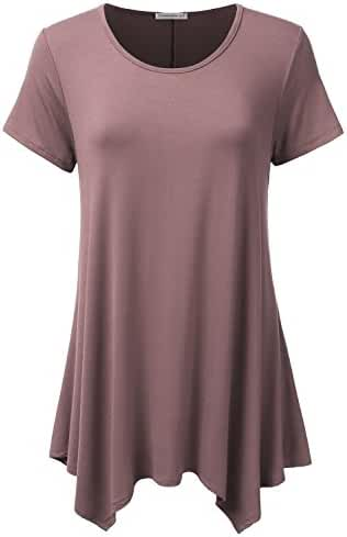 JJ Perfection Women's Short Sleeve Loose Fit Swing Tunic Top T-Shirt