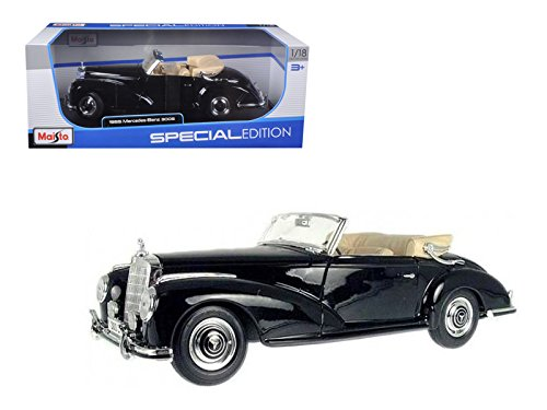 - 1955 Mercedes 300S Cabriolet Black 1/18 Special Edition Diecast Car Model With Display Stand by Maisto 31806bk