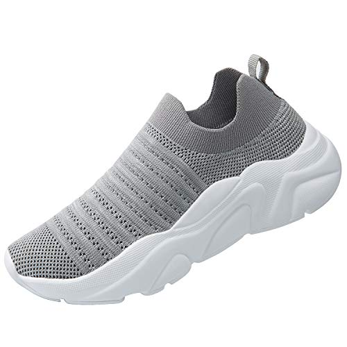 (Women's Slip On Sock Sneakers Mesh Casual Lady Gym Jazz Dance Walking Shoes (7.5, 4293 Grey))