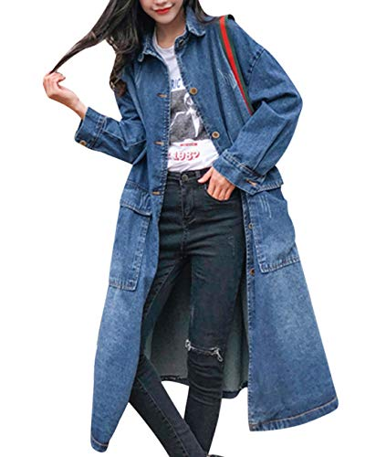 Denim Trench Coat - YESNO WF9 Women Casual Long Button Down Denim Jacket Loose Fit Jean Trench Coat Outwear 4/5 Sleeve Ripped Large Flap Pockets (L, WF9 Blue)