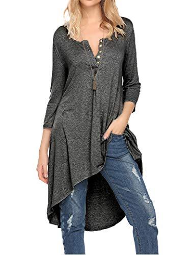 - Naggoo Women's Spring 3/4 Sleeve Asymmetrical Tunic Loose Long Blouse Tops Dark Gray