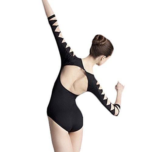 Embiofuels(TM Lycra Cotton Backless Unitard Adult Girl Black 3/4 Long Sleeve Dance Practice Leotard Gymnastic Ballet Leotards For Women