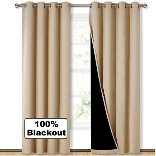 NICETOWN Living Room Completely Shaded Draperies, Privacy Protection & Noise Reducing Ring Top Drapes, Black Lined Insulated Window Treatment Curtain Panels(Cream Beige, 2 Pieces, W52 x L84) -