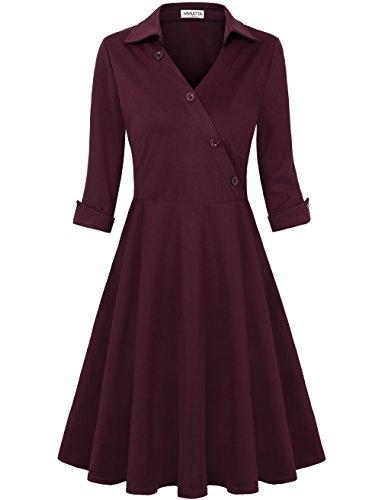 HNNATTA Formal Dresses For Women, Mermaid Dress Office Wear A Line Elegant Homecoming Dress Wine Red - Wear Formal