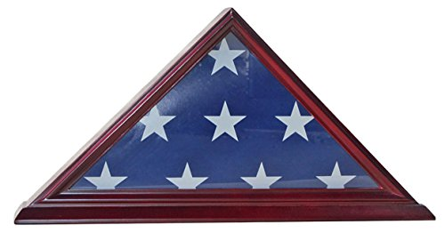4' X 6' Flag Display Case Flag Storage Shadow Box Frame (NOT for Burial Flag Size), Solid Wood, Cherry Finish (FC03-CH)