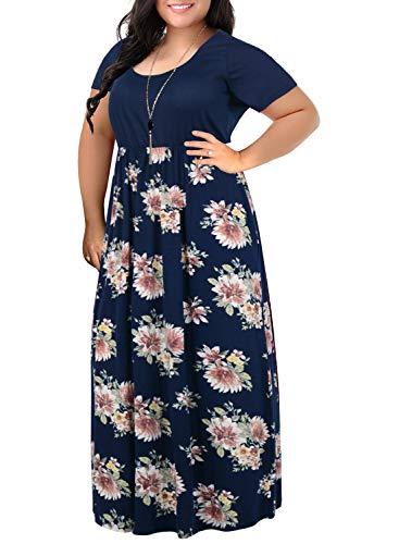 - Nemidor Women's Chevron Print Summer Short Sleeve Plus Size Casual Maxi Dress (20W, Navy Print)