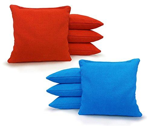 Tailgating Pros Regulation Cornhole Bags 17 Colors Handmade (Set of 8) by Johnson Enterprise, LLC (Orange/Turquoise)