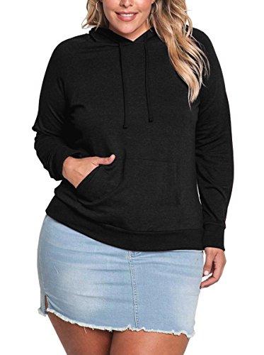 LouKeith Women's Plus Size Long Sleeve Pocket Pullover Hooded Sweatshirt Jumper Black 24