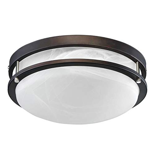 TORCHSTAR 12.5 Inch Dimmable LED Flush Mount Ceiling Light, Alabaster Glass Cover, ETL-Listed, 1200lm, 3000K Warm White, Oil Rubbed Bronze Finish for Living Room/Corridor/Hallway/Kitchen/Stairways For Sale