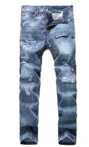 Light Moda Da Uomo Color Fori Tide Ssig Classic Straight Slim Cher Alla Blau Cowboy Jeans Beggar Fit Pantaloni Density pwq1Yw6