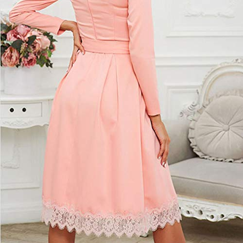 Noche para para Vestidos Falda Mujer Playa Larga Fiesta Dress Manga Pink Damas Casual Vestido Midi Elegante de Xinwcang gqZR6f6